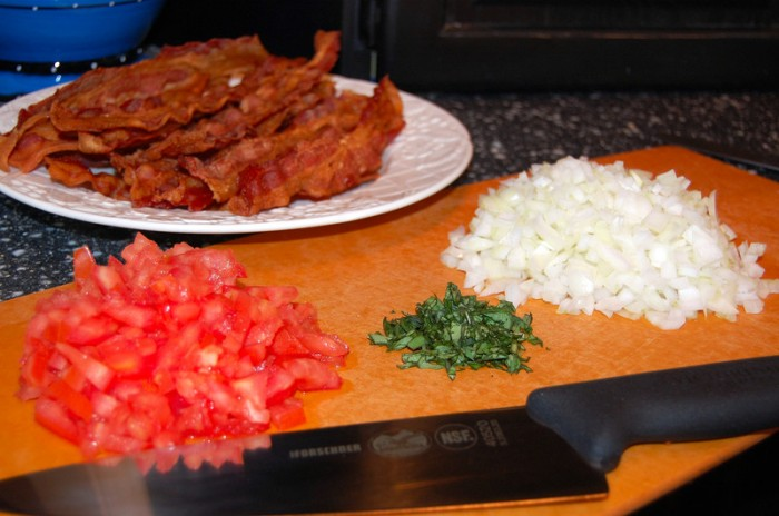 Cooked Bacon - Tomatoes - Chopped Onions