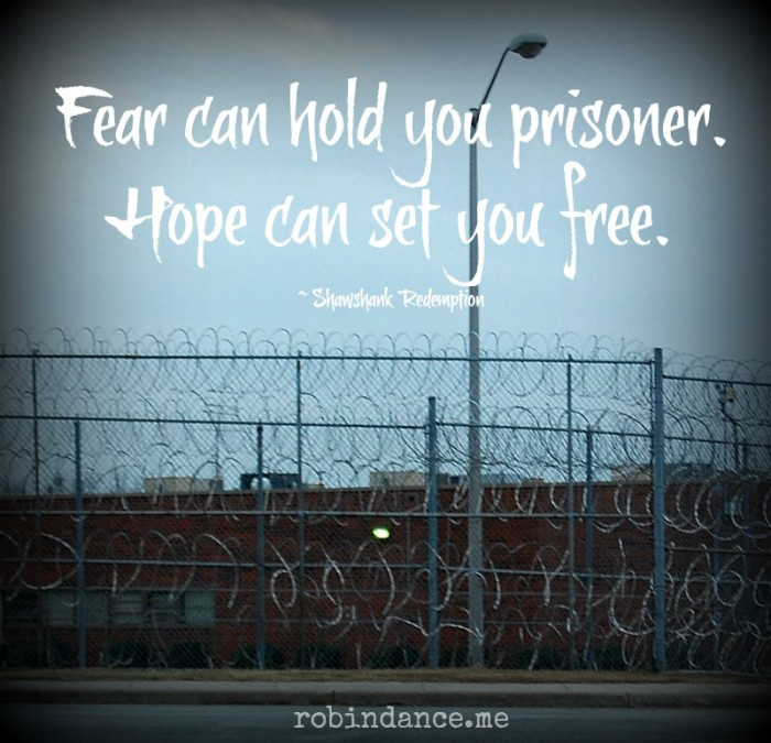 Prison Razor Wire Photo with Shawshank Tagline