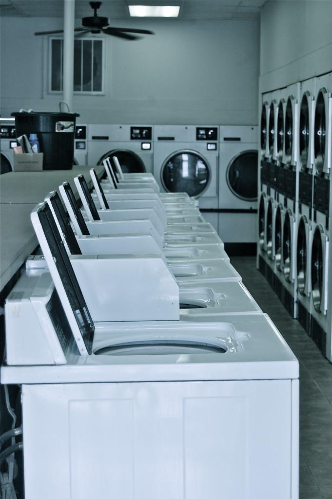 Black and white laundromat