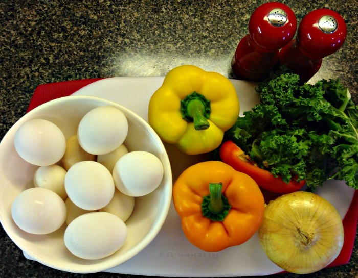 Eggs Peppers Kale Onion