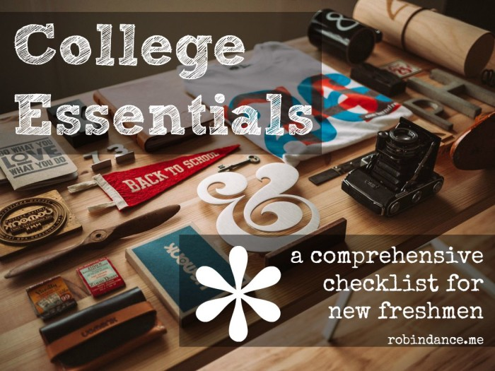 College Essentials Checklist by Robin Dance