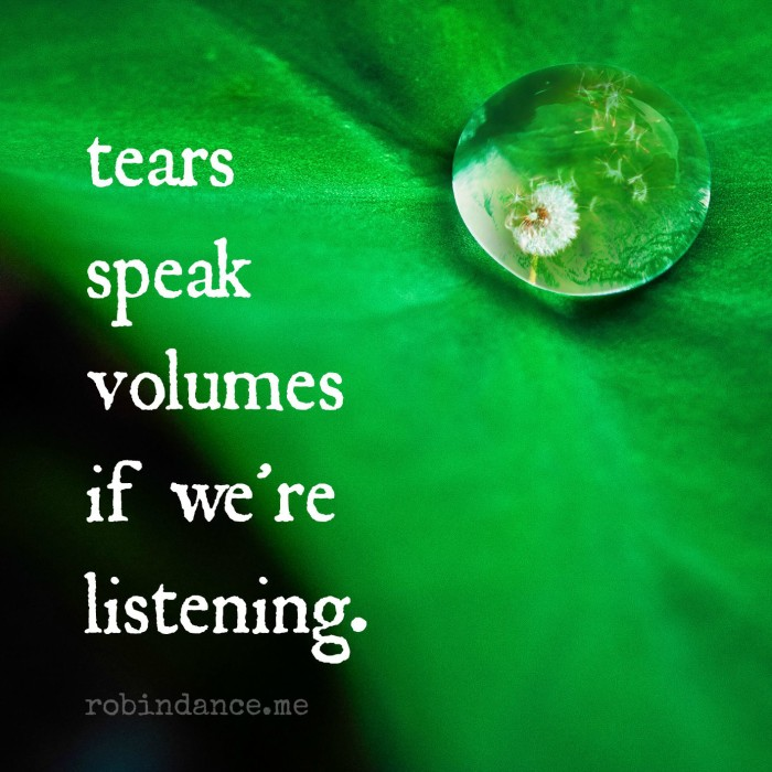 tears speak volumes if we are listening - robin dance